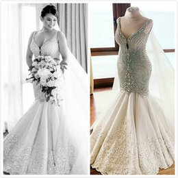 $enCountryForm.capitalKeyWord Australia - 2019 Arabic Plus Size Mermaid Crystals Wedding Dresses Spaghetti Lace Beaded Bridal Dresses Sexy Charming Wedding Gowns