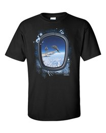 Airplane Art Australia - Dolphins T-Shirt Surreal Art Funny Airplane Dive Swim Vintage YOLO Gift Tee New
