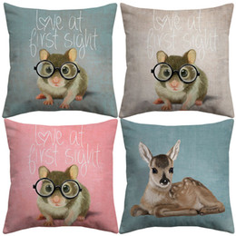 $enCountryForm.capitalKeyWord Canada - Little Mouse With Glasses Cushion Covers Cute Animals Hamster Rat Deer Koala Pillow Cover Linen Cotton Pillow Case