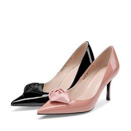 $enCountryForm.capitalKeyWord Australia - Spring Sexy Women Shoes Flower Decoration Slip-on 7.5cm High Thin Heels Pointed Toe Pumps Pink Black Party Pumps