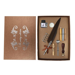 Discount paper pen gift boxes Feather Pen Writing Ink Set with ink bottle+ 5pcs nips + kraft letter paper + Ealing Wax Stamp 3pcs Sealing Wax+Sealing