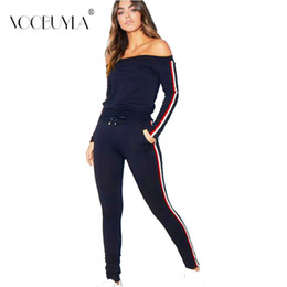Discount polyester tracksuits - Voobuyla Sport Suit Women Tracksuits Pullover Top Shirts Running Set Jogging Suits Sweat Pants 2pcs Set Gym Ladies Sport