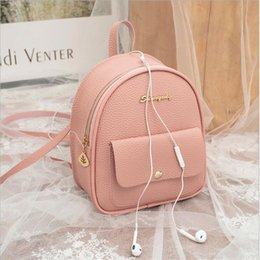 $enCountryForm.capitalKeyWord Australia - 2019 new arrival Women Shoulders Solid color Small Backpack Letter Purse Mobile Phone zipper Bag mujer