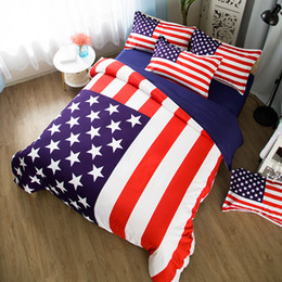 king size cotton quilt sets 2019 - king size american flag bedding set single double full usa flag bedding set bed sheet quilt cover pillowcase 3 4pcs home