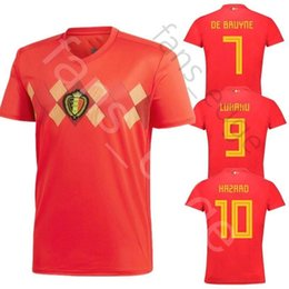 29ec26fc8ba 2018 Belgium World Cup Jersey 9 LUKAKU 8 FELLAINI 10 E.HAZARD 4 KOMPANY 7 DE  BRUYNE VERMAELEN Home Red Soccer Football Shirts