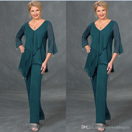 modern formal suits UK - Dark Green Chiffon Mother Of The Bride Suits Pants V Neck Long Sleeves Plus Size Floor Length Mothers Suits Formal Dress Evening Gowns