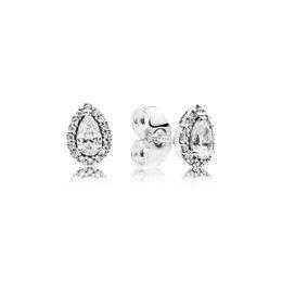 e7f7ad6c36e4 LUZURY Fashion Tear drop CZ Diamond Stud EARRING para Pandora 925 Caja de  regalo de boda de las mujeres de plata esterlina conjunto Pendientes