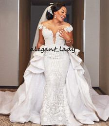Wedding dresses pearl buttons lace online shopping - Plus Size African Mermaid Wedding Dresses with Detachable Train Lace Applique Ruffles Off Shoulder Arabic Bridal Wedding Gown