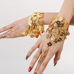Gold Belly Dance Chains Australia - Women Belly Dance Performance Bracelet Indian Dance Show Wristband Silver Chain Gold Color Ring Bracelets Hip Hop Bracelet