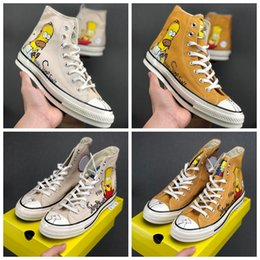 Hand painted women body online shopping - Hot Cute Designer Simpson x Convas s Hi Donuts Hand painted Limited Figurines Casual Sneakers Mens Women Skateboard Sport Shoes