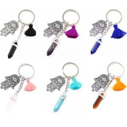 Hexagon Keys Australia - Chakra Hexagon Prism Natural Stone Keychain Tassel Key Ring Handbag Hangs Key Chains Vintage Charms Jewelry For Keys Car Bag Friendship Gift
