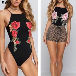 Wholesale KLV Sleeveless Halter Sexy Bodysuit Backless Criss Cross Strappy Bandage Romper Rose Flower Embroidery Applique Front Jumpsuit