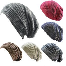 7f8f7663e533 2018 New men women slouchy hat winter knitted beanies hat for adults  fashion caps Warm Chunky Soft Oversized Cable Knit Slouchy cap Beanie