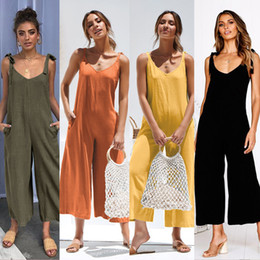 fashion design jumpsuit 2019 - New design summer womens jumpsuit fashion backless sleeveless sling V-neck strap wide-leg women clothes pants 4 colors r