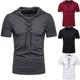 Wholesale New Men acute s Slim Fit O Neck Short Sleeve Thin Hooded Shirts Casual T shirt Tops Blouse