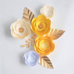 $enCountryForm.capitalKeyWord Australia - DIY Giant Paper Flowers Artificial Rose Fleurs Backdrops 5pcs+4 Leave For Wedding Party Decorations Baby Nursery Video Tutorial