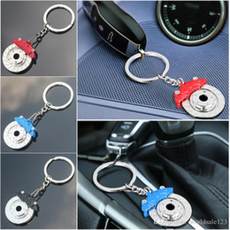 Car Refitting Australia - Car Refitting Metal Auto Parts Disc Brake Keychain Hub Calipers Key Ring For Car Pendant Key Chain For Man Gift Trinkets