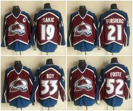 004be4f8e Colorado Avalanche  33 Patrick Roy 19 Joe Sakic 21 Peter Forsberg 52 Adam  Foote Hockey Jerseys Free Shipping