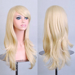 Ladies curLy hair online shopping - 70cm Long Women Lady Hair Wig Curly Light Blonde Synthetic Anime Cosplay Wigs for women wigs Free deliver