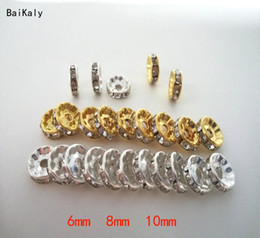 $enCountryForm.capitalKeyWord Australia - 500pcs 6 8 10mm Gold Silver Color Grade A Rhinestone Rondelles Crystal Beads Loose Spacer Beads for charms DIY Jewelry Making