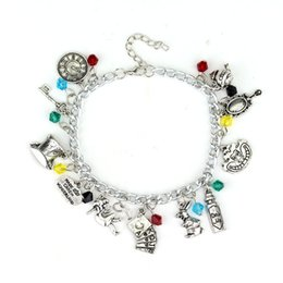 Chinese  Alice In Wonderland Mad Hatter Charm Bracelet & Necklace Drink Me Alice Hat Brand Jewelry Gift For Fans Women Movie Jewelry manufacturers