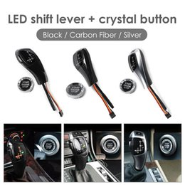 engine start Australia - LHD LED Gear Shift Knob with Crystal ENGINE START STOP Button Replace Cover For E46 E60 E61 Car Styling Accessaries