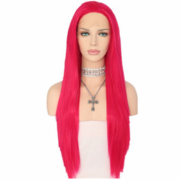 red rose types NZ - Natural Hairline Straight Type Heat Resistant Hair Rose Red Color Cosplay Long Straight Synthetic Lace Front Wigs For Women Party Present