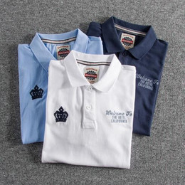american polo shirts NZ - Mens Polo Shirt Washed Cotton Embroidery Letters European and American Style Short Sleeve Turn Down Lapel 3 Colors