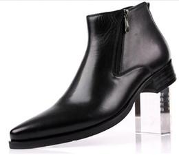 538eb1210 Homens botas de couro genuíno preto Apontou Toe luxo moda clássico  escritório de negócios ankle boots formais homens sapatos masculinos