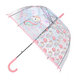 kids cartoon umbrella 2019 - Wholesale Unicorn Umbrella Cute Children Long Handle Transparent Umbrella Cartoon Auto Open Close Folding Waterproof Kid