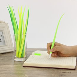 $enCountryForm.capitalKeyWord Australia - 10pc Tiny Green Grass Gel Pen Blade Grass Potting Decoration Stationery Office Supplies Material School HK0579