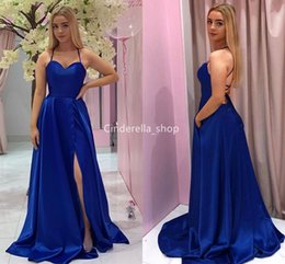 $enCountryForm.capitalKeyWord NZ - Royal Blue Halter Long Prom Dresses 2019 Sleeveless Corset Back Evening Party Gowns With Side Slit Cheap Customized Robes Gala