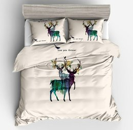 Yellow White Bedding Sets Australia - 100% Polyester Christmas cartoon sika deer flowers white black yellow duvet quilt cover tiwn full queen king size to bedding set