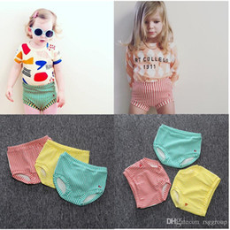girls pearl pants NZ - INS Kids Girls Bloomers Striped Yellow Red Green Lovely Fashions Baby Girls Shorts PP Pants Designer Kids Clothing