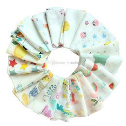 Toddler Cotton Scarves Australia - 2 layers Baby Newborn INS print Bibs Infant Scarf Toddlers cartoon Cotton Bandana Burp Cloths 25*25cm 30*30cm C6895