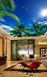 Sky ceiling wallpaper online shopping - Modern Wallpaper D Wall Murals For Living Room Ceiling Mural Coconut tree blue sky white seagull Custom Wallpaper Photo Wall Paper D