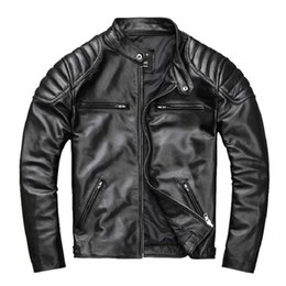 Discount free leather bikers - 2019 Black Men Slim Fit American Motorcycle Leather Jacket Plus Size 4XL GEnuine Cowhide Short Biker Leather Coat FREE S