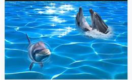 $enCountryForm.capitalKeyWord NZ - Custom 3D self-adhesive floor mural wallpaper interior decoration Seawater Dolphin Water Ripple 3D Bathroom Waterproof Floor Painting