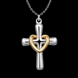 Wholesale Thin Silver Necklaces NZ - New Arrival 925 Silver Gold Heart Circle Crosses Necklace Charms Ladies Necklaces Best Selling Fit Thin Chain Necklace 3262