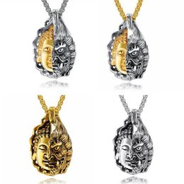 "t pendants Australia - 4pcs ""One thought into a Buddha One thought into a devil ""Retro personality ethnic style Buddha Department men pendant necklace T-42"