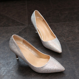 Shining Patent Leather Shoes NZ - Designer Dress Shoes 2019 New Trend Women Shining Pumps High Heels Sexy Club Woman Spring Female Full Of Metal Decoration Shallow Footwear