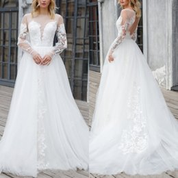 $enCountryForm.capitalKeyWord Australia - A Line Princess Wedding Gown Plus Size Long Sleeve Jewel Neck Open Back Wedding Dress With Delicate Appliques Sweep Train Tulle Bridal Gown