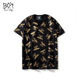 hot stamp printing NZ - Gold Eagle Luxury Mens Tshirts Round Neck Short Sleeve Little Plane Print Tops Fashion Teenager Hot Stamping Tees