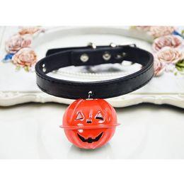 $enCountryForm.capitalKeyWord Australia - Halloween Easy Wear Adjustable Buckle Dog Cat Collar With Pumpkin Bells Puppy Pet Supplies Cat Dog Accessories