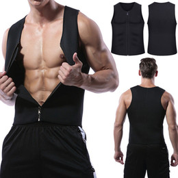 83306adf0adc3 2019 Mens Slimming Vest HOT Shirt Fitness Weight Loss Sweat Sauna Suit Waist  Trainer Body Shaper Neoprene Tank Top with Zipper