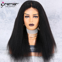 Brazilian hairstyles middle part online shopping - PREMIER Lace Wig Silk Base Middle Part Kinky Straight Density Brazilian Remy Hair Wigs