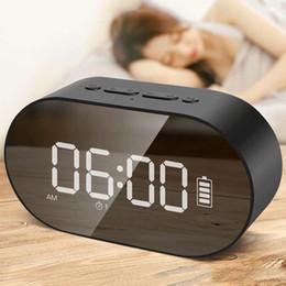 Discount wireless usb disk - P1 Bluetooth Alarm Clock Speaker LED Display Digital Mirror With Aux TF Card USB Flash disk FM Home Office Portable HIFI