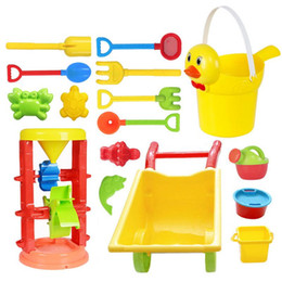 Tools Play Sand Australia - Children's Beach Sand Playing Toys Set Hourglass Cart Duckling Bucket Toy Smooth Non-toxic Plastic Bath Water Playing Tool Set