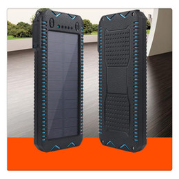 Mah Power Bank Charger Dual Usb Australia - Portable Solar Power Bank Dual USB Port External Battery Charger 15000 mAh Built-in 2 LED Flashlight Waterproof Phone Charger for Emergency
