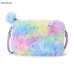 winter fur handbag NZ - Rainbow Fur Girl's Cute Crossbody Bag Winter Mini Handbags Kawii Women Shoulder Bag Leather Cartoon Clutch Envelope Purse Bolsa D19011204